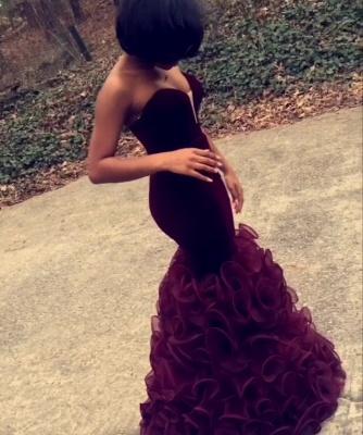 Stunning Sweetheart Mermaid Burgundy Prom Dress UKes UK Organza Floor Length BK0_2