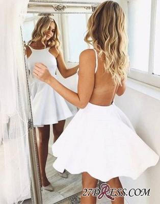 Backless White Sleeveless Cute A-line Short-mini Cocktail Dress UK_4