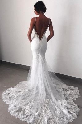 Backless Wedding Dresses UK Lace  Sexy Mermaid | Spaghetti Straps Bride Dress Cheap_1