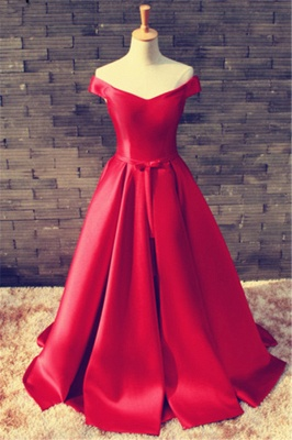 Sexy Red Off-the-shoulder Prom Dress UK Bowknot Lace-up_1