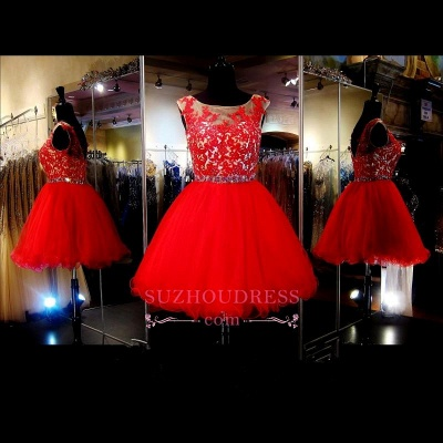 A-Line Red Appliques Tulle Short Sleeveless Mini Homecoming Dress UK_1