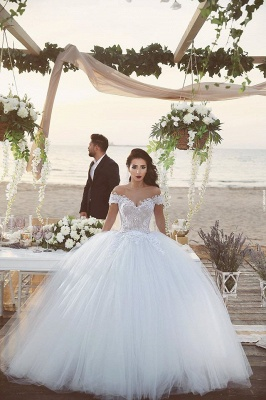 Delicate Tulle Lace Appliques Wedding Dress Off-the-shoulder Ball Gown_3