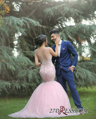 Applique Sleeveless Long Pink  Sexy Mermaid Tulle Wedding Dresses UK_2