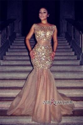 Tulle Halter Mermaid Luxury Crystal Sleeveless Prom Dress UK BA4960_3