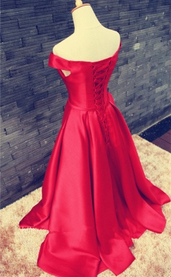 Sexy Red Off-the-shoulder Prom Dress UK Bowknot Lace-up_4