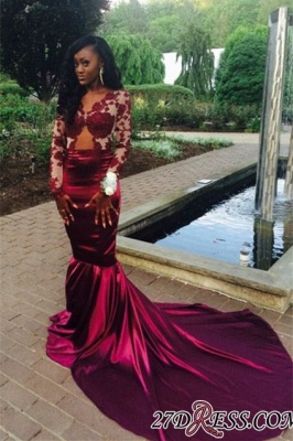Sweep-Train Long-Sleeve Mermaid Lace Elegant Prom Dress UK BK0_2