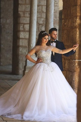 Elegant Illusion Half Sleeve Tulle Wedding Dress Beadss Ball Gown_2