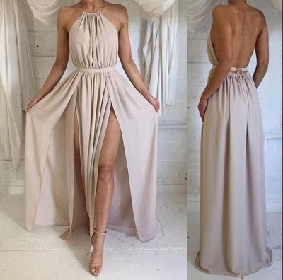 Sexy Halter Sleeveless Prom Dress UKes UK Split Floor Length Chiffon HT336_3