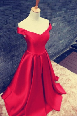 Sexy Red Off-the-shoulder Prom Dress UK Bowknot Lace-up_2