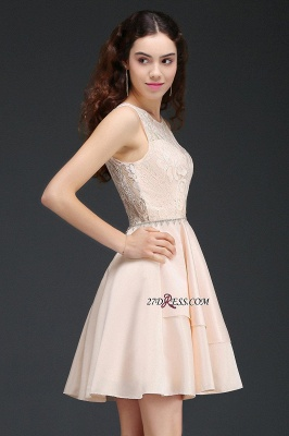 Sexy A-line Sleeveless Beading Tiers Lace Homecoming Dress UKes UK_5