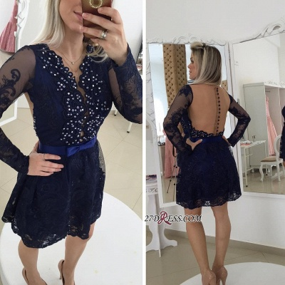 Bow Newest Beads Long-Sleeve Lace Zipper Mini Homecoming Dress UK_3
