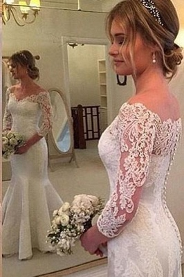 Button Sexy Mermaid Off-the-shoulder Wedding Dress_2