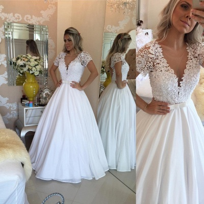 Elegant Short Sleeve Wedding Dresses UK A-Line Lace Appliques With Pearls IG006_4