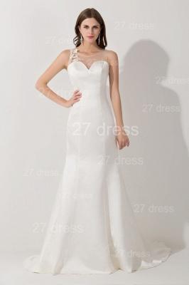 Elegant White Mermaid Illusion Evening Dress UK Pearls Bowknot Sweep Train_1