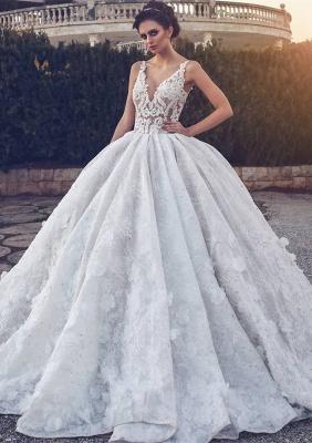 Elegant V-neck Lace Wedding Dress | Ball Gown Bridal Dress_1