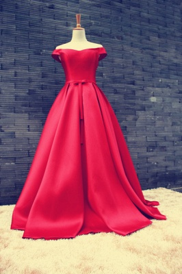 Sexy Red Off-the-shoulder Prom Dress UK Bowknot Lace-up_3