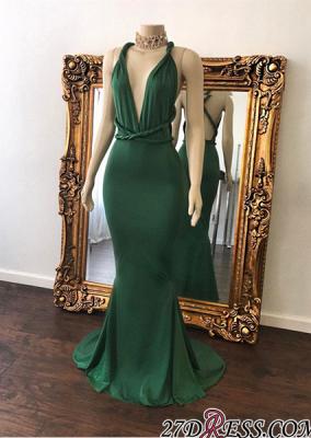 Long V-Neck Mermaid Green Beautiful Floor-Length Evening Dress UK BA7598_2