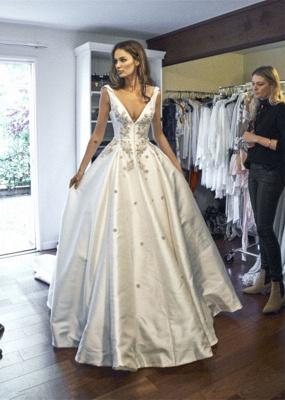Modern V-Neck Sleeveless Wedding Dresses UK Princess Crystal Bridal Gowns_5