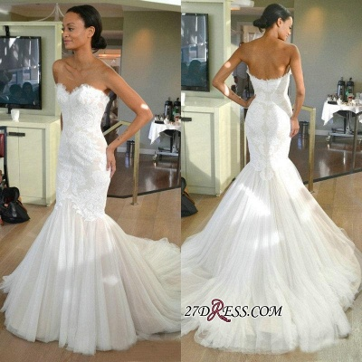 Strapless Sleeves Sexy Mermaid Lace Sweep-train Tulle Wedding Dress_1