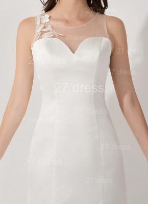 Elegant White Mermaid Illusion Evening Dress UK Pearls Bowknot Sweep Train_3