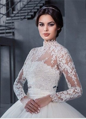 Modern High Neck Lace Appliques Wedding Dress Ball Gown Long Sleeve_1