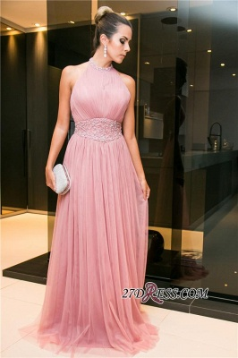 Tulle Halter Open-Back Long Candy-Pink Sleeveless Beaded Evening Dress UK_3
