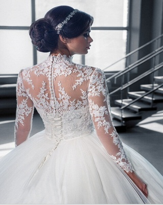 Modern High Neck Lace Appliques Wedding Dress Ball Gown Long Sleeve_3