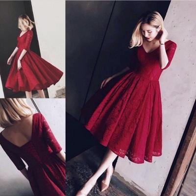 Sexy Half Sleeve Lace Short Prom Dress UK On sale Lace Party Dress UK BA8143_5