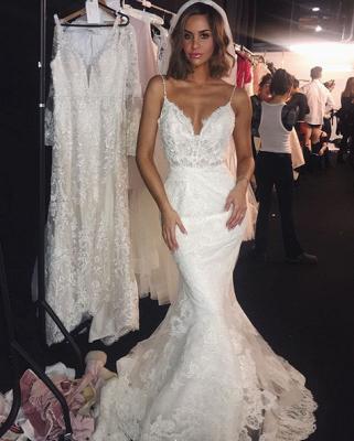 Backless Wedding Dresses UK Lace  Sexy Mermaid | Spaghetti Straps Bride Dress Cheap_4