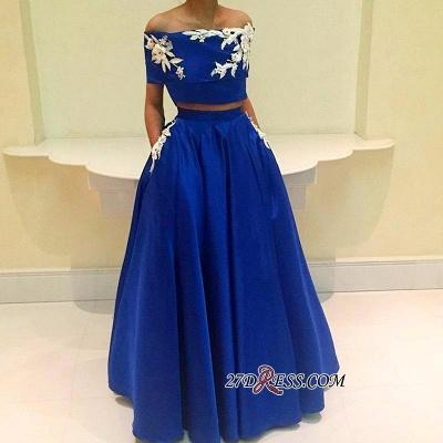 Two-Pieces Appliques Royal-Blue A-Line Off-the-Shoulder Prom Dress UK BA4634_1
