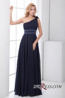 Crystal One-Shoulder Long Luxury Chiffon Flowers Bridesmaid Dress UK_5