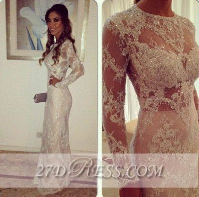 Long Sleeve Crystal Lace Party Dress UKes UK Sheath Charming Attractive Evening Gowns_2