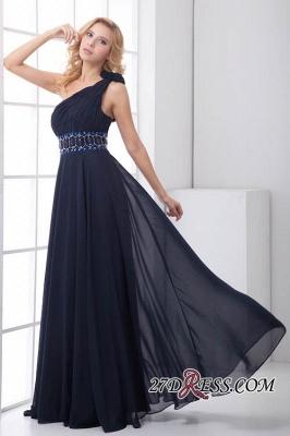 Crystal One-Shoulder Long Luxury Chiffon Flowers Bridesmaid Dress UK_6