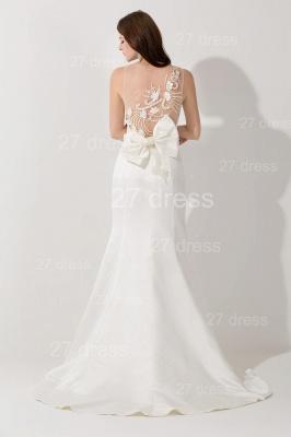 Elegant White Mermaid Illusion Evening Dress UK Pearls Bowknot Sweep Train_4