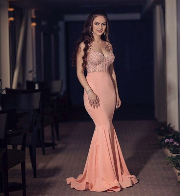 New Arrival Spaghetti Straps Evening Dress UK Lace Appliques Mermaid Long Formal Dress UK BA8398_3