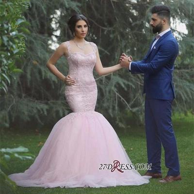 Applique Sleeveless Long Pink  Sexy Mermaid Tulle Wedding Dresses UK_1