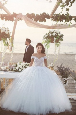 Delicate Tulle Lace Appliques Wedding Dress Off-the-shoulder Ball Gown_4