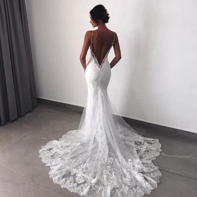Backless Wedding Dresses UK Lace  Sexy Mermaid | Spaghetti Straps Bride Dress Cheap_5