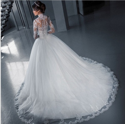 Modern High Neck Lace Appliques Wedding Dress Ball Gown Long Sleeve_4