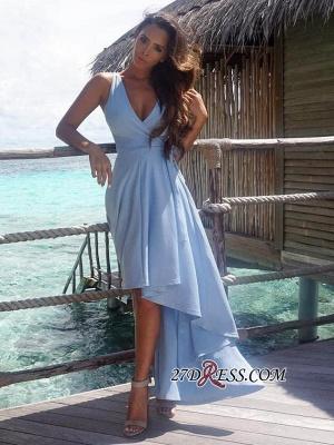 Summer Sexy Hi-Lo Sleeveless V-Neck Prom Dress UK BA7197_2