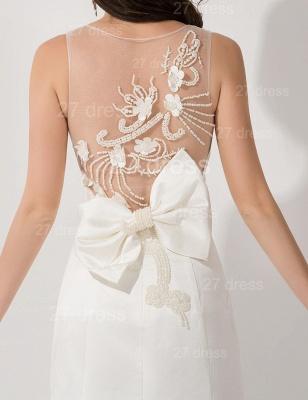 Elegant White Mermaid Illusion Evening Dress UK Pearls Bowknot Sweep Train_2