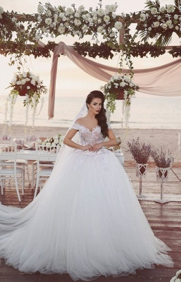Delicate Tulle Lace Appliques Wedding Dress Off-the-shoulder Ball Gown_1