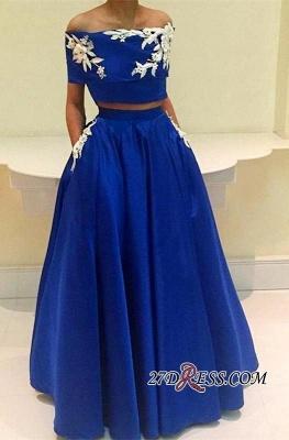 Two-Pieces Appliques Royal-Blue A-Line Off-the-Shoulder Prom Dress UK BA4634_2