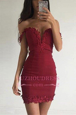 Burgundy Short Elegant Sheath Appliques Off-the-shoulder Homecoming Dress UK BA3581_1