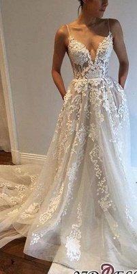 A-Line Appliques V-Neck Spaghetti-Straps Tulle Wedding Dresses UK qq0275_3
