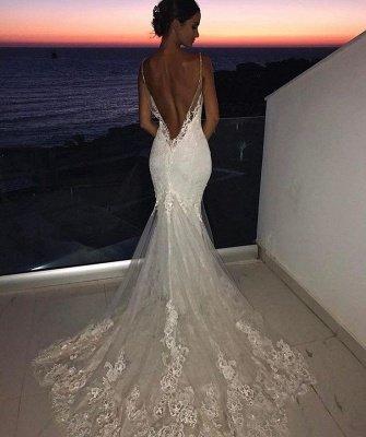 Backless Wedding Dresses UK Lace  Sexy Mermaid | Spaghetti Straps Bride Dress Cheap_3
