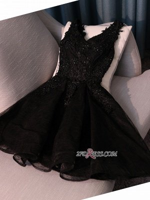 Black A-Line Short Prom Dress UK | Homecoming Dress UK With Lace Appliques_5