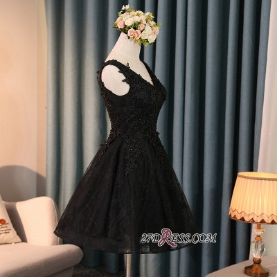 Black A-Line Short Prom Dress UK | Homecoming Dress UK With Lace Appliques_3