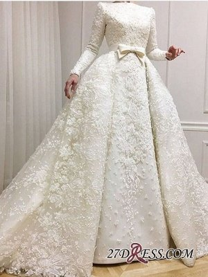 Long-Sleeves Muslim Full Lace Wedding Dresses UK Overskirt Online BA9362_2