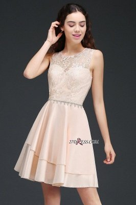 Sexy A-line Sleeveless Beading Tiers Lace Homecoming Dress UKes UK_2